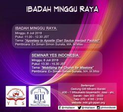 Ibadah Minggu Raya & Seminar oleh YES Indonesia